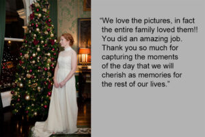 Christmas wedding photograph at the Shelbourne Hotel in Dublin