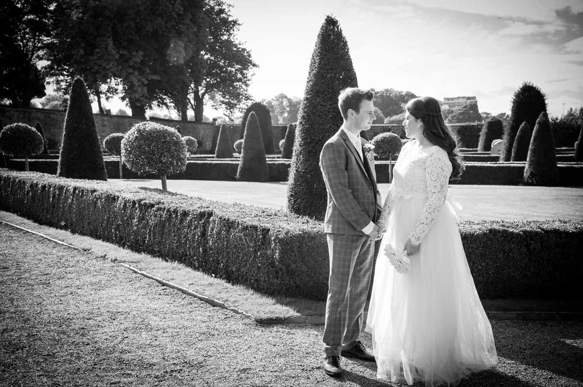 Micro wedding photography of the bride and groom in the walled gardens in The Royal Hospital Kilmainham