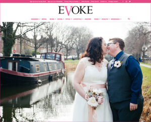 A couple exchange a kiss on the banks of the Grand Canal following their Dublin Registry Office wedding