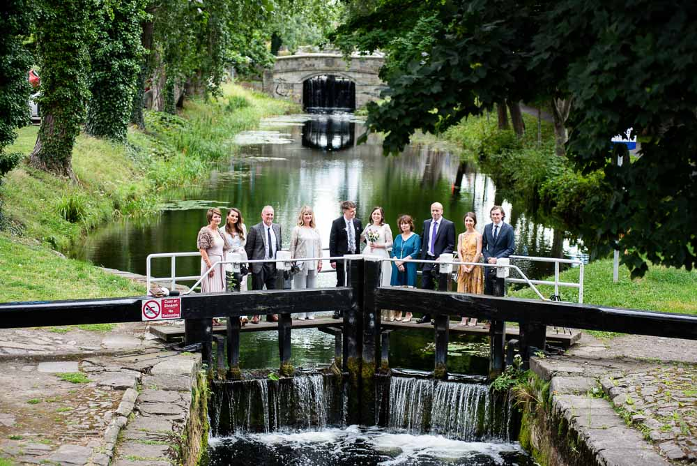 Registry Office Photography of guests on the banks of the Grand Canal in Dublin