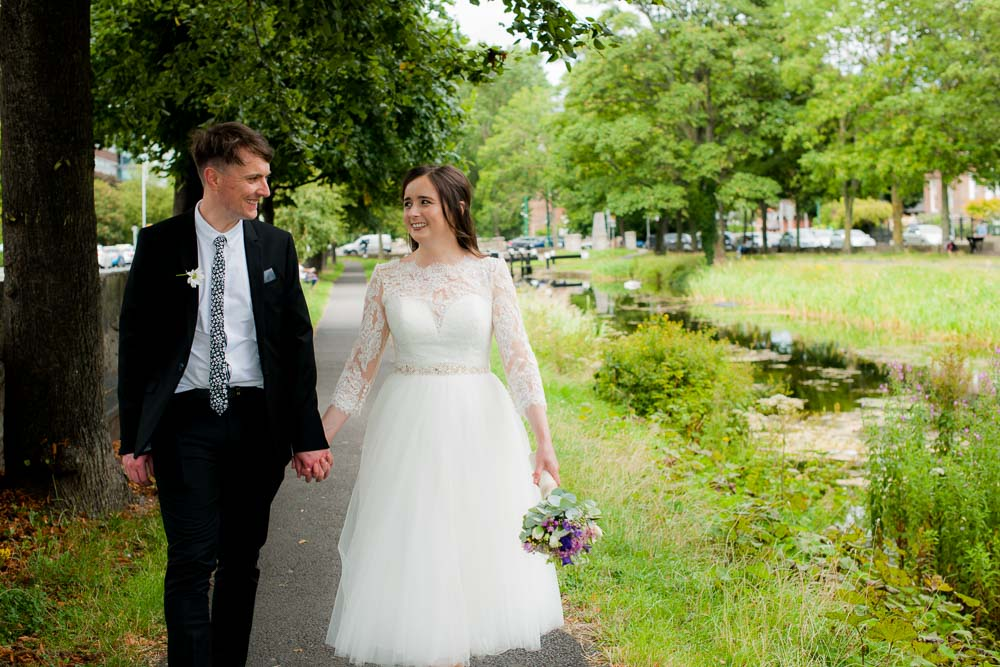 Registry Office Photography on the banks of the Grand Canal in Dublin