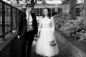 Registry Office Photography of the bride and groom arriving to be married